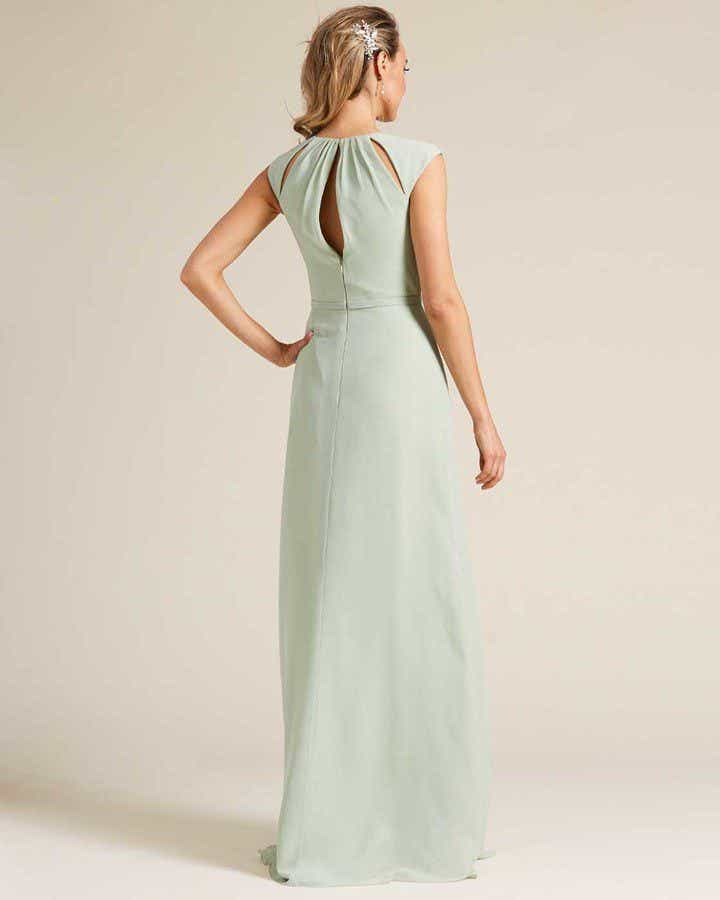 Pastel Green Cut Out Top Long Formal Gown - Back