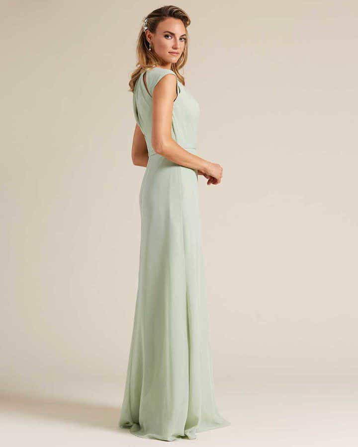 Pastel Green Cut Out Top Long Formal Gown - Side