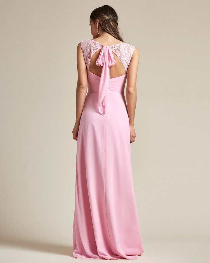 Embroidered Sleeves Cut Out Back Detail Bridesmaid Gown - Back