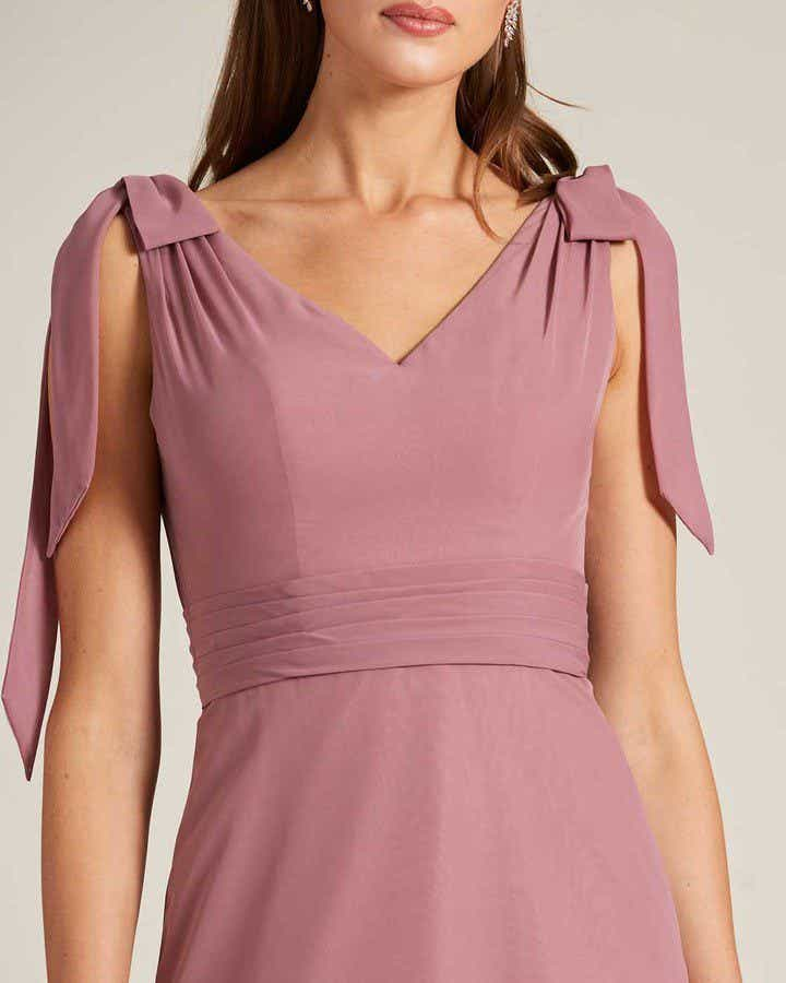 Rose Pink Bow Sleeve Long Skirt Dress - Detail