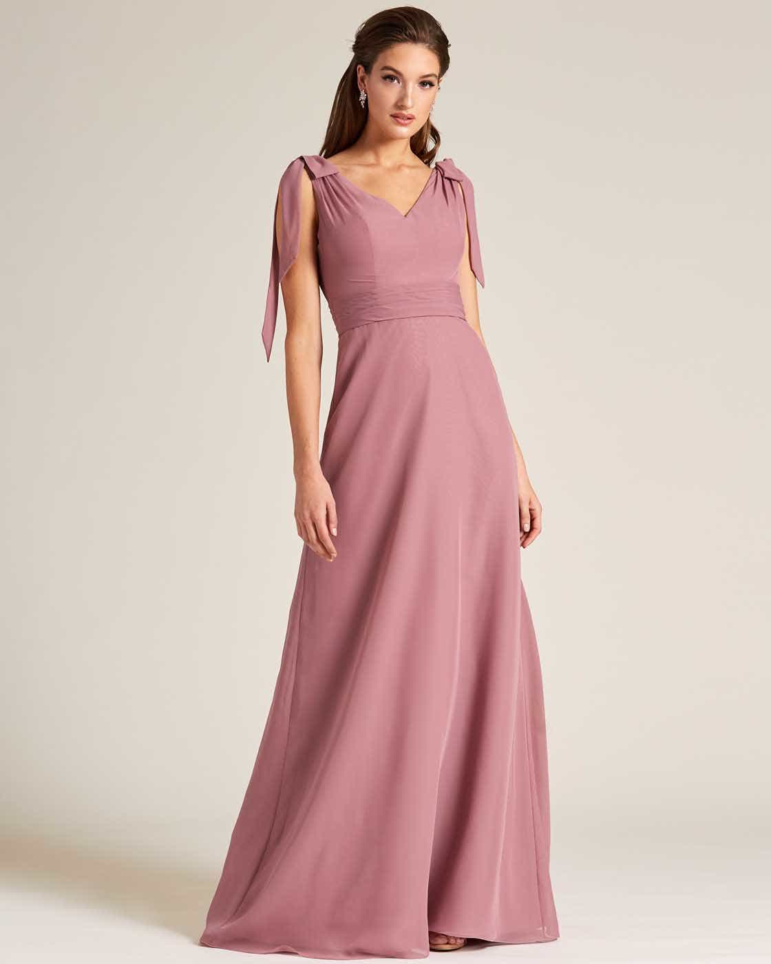 Rose Pink Bow Sleeve Long Skirt Dress - Front