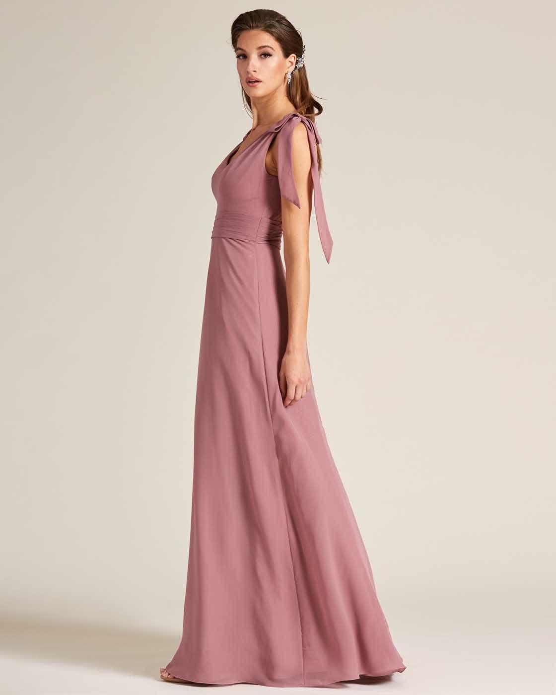 Rose Pink Bow Sleeve Long Skirt Dress - Side