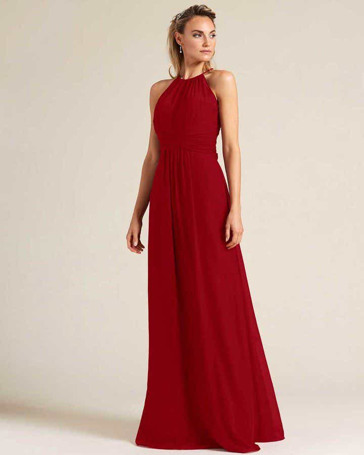 Burgundy Sleeveless Bow Detail Evening Gown - Front