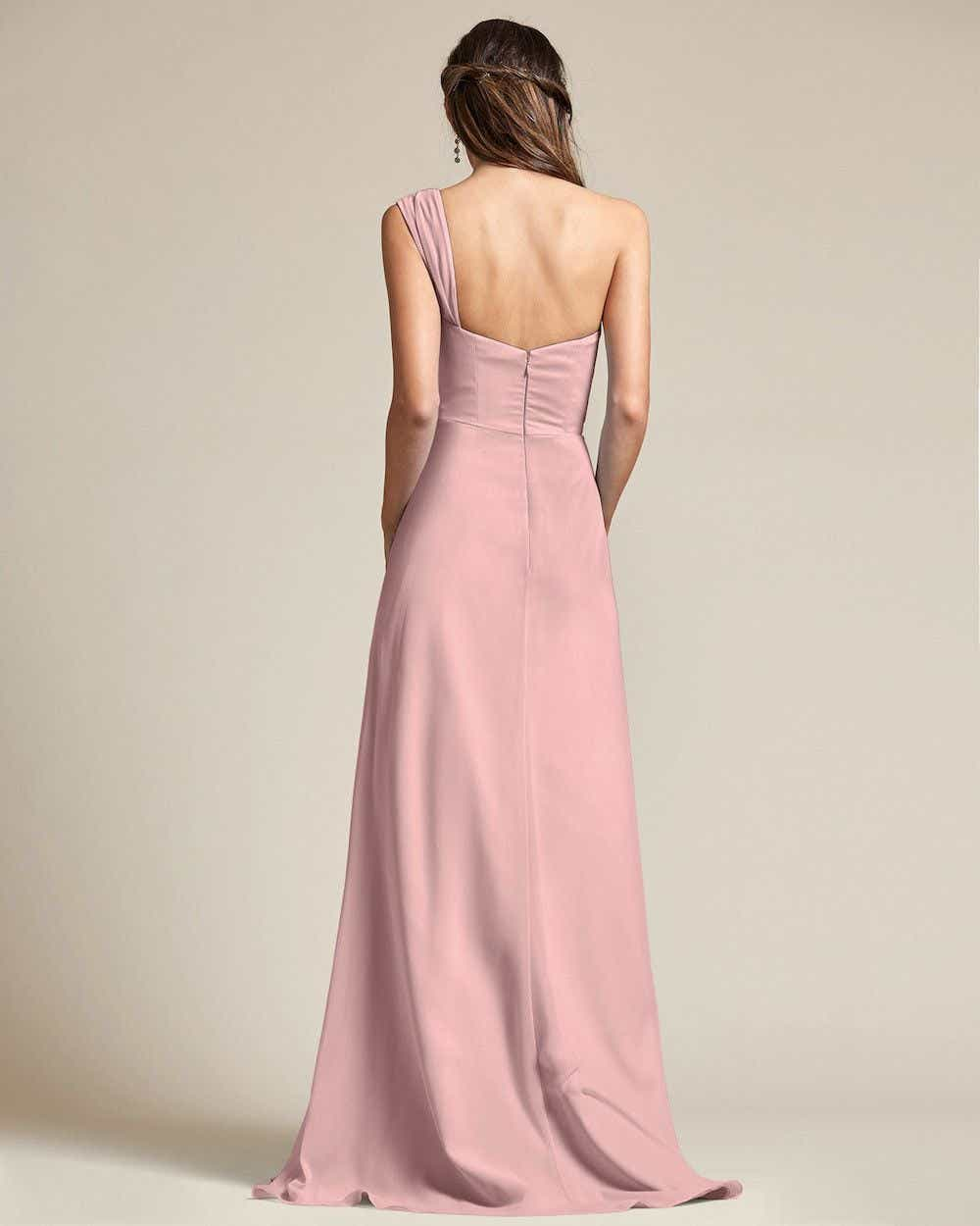One Shoulder Strap Pleated Top Long Skirt Maid of Honor Dress - Back