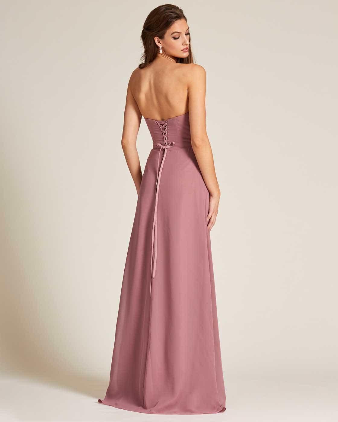 Mauve Strapless Tie Back Evening Dress - Back