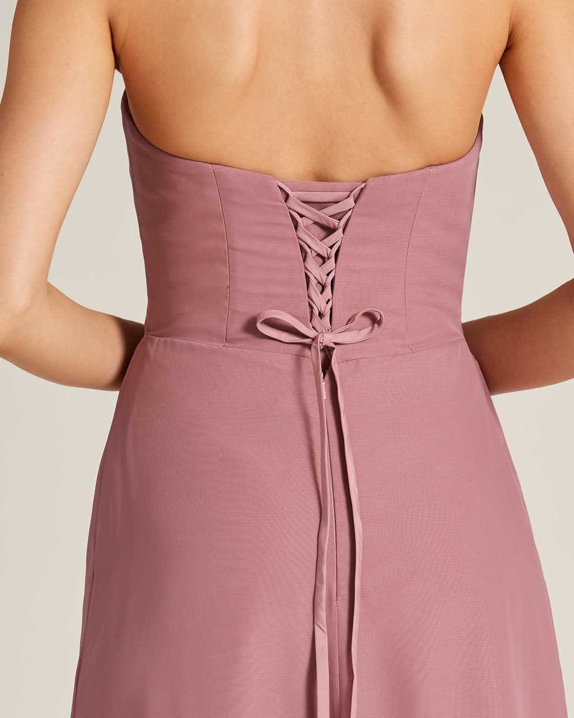 Mauve Strapless Tie Back Evening Dress - Detail