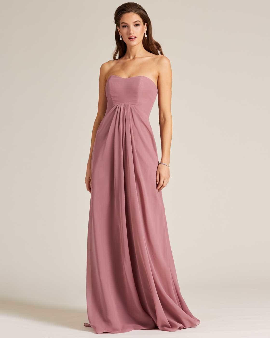 Mauve Strapless Tie Back Evening Dress - Front