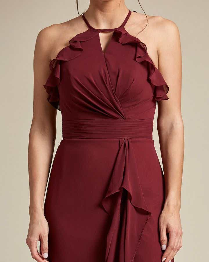Racerback Design With Flowy Detail Long Skirt Maid of Honor Dress - Detail
