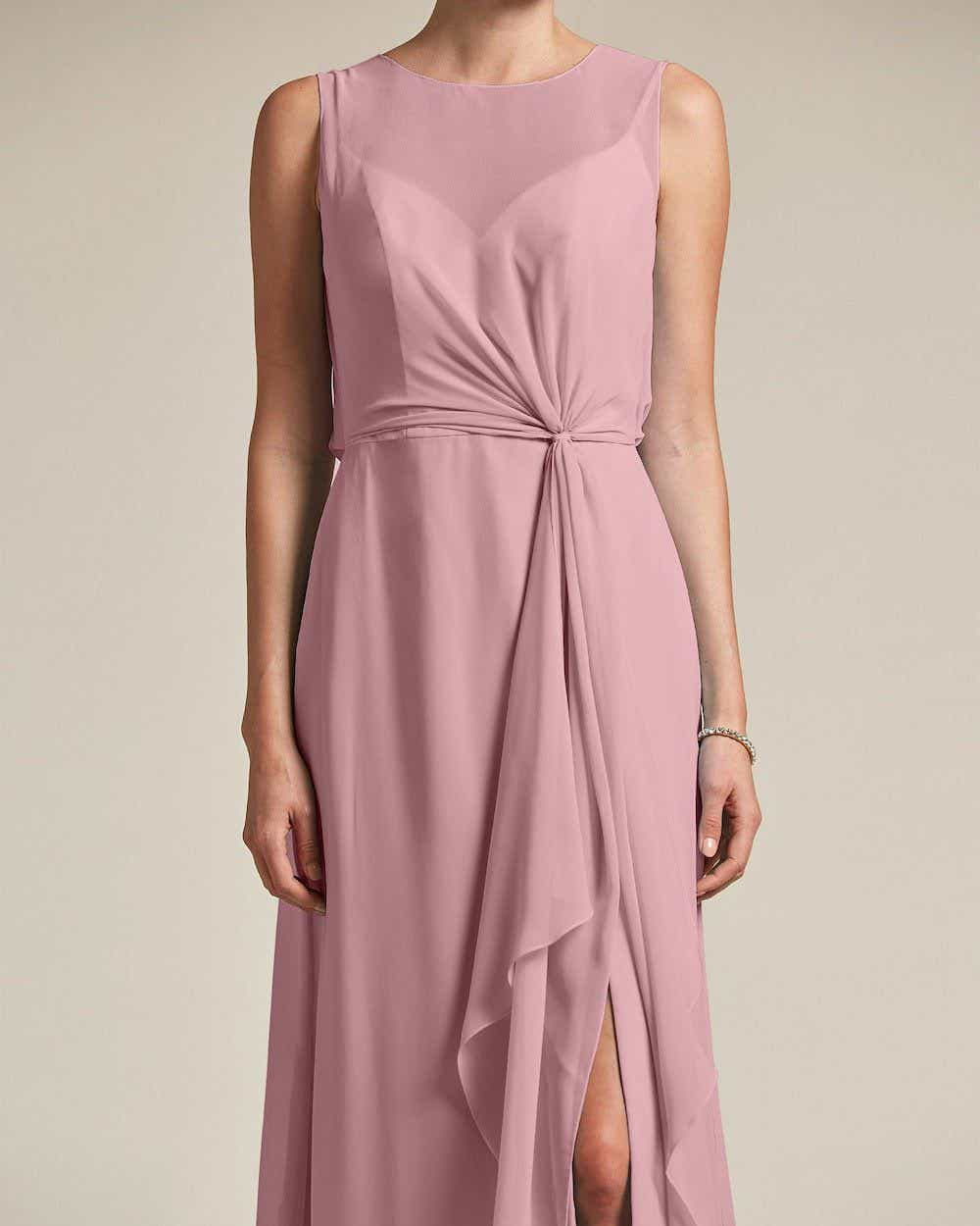 Illusion Style Boat Neck Two Piece Maxi Dress - Detail