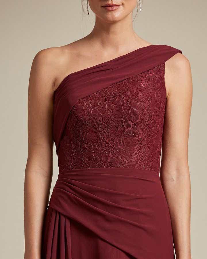 Classic Asymmetrical Sleeve Maxi Dress - Detail