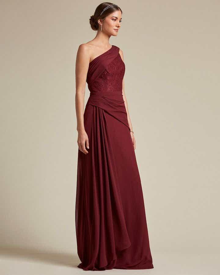 Classic Asymmetrical Sleeve Maxi Dress - Side