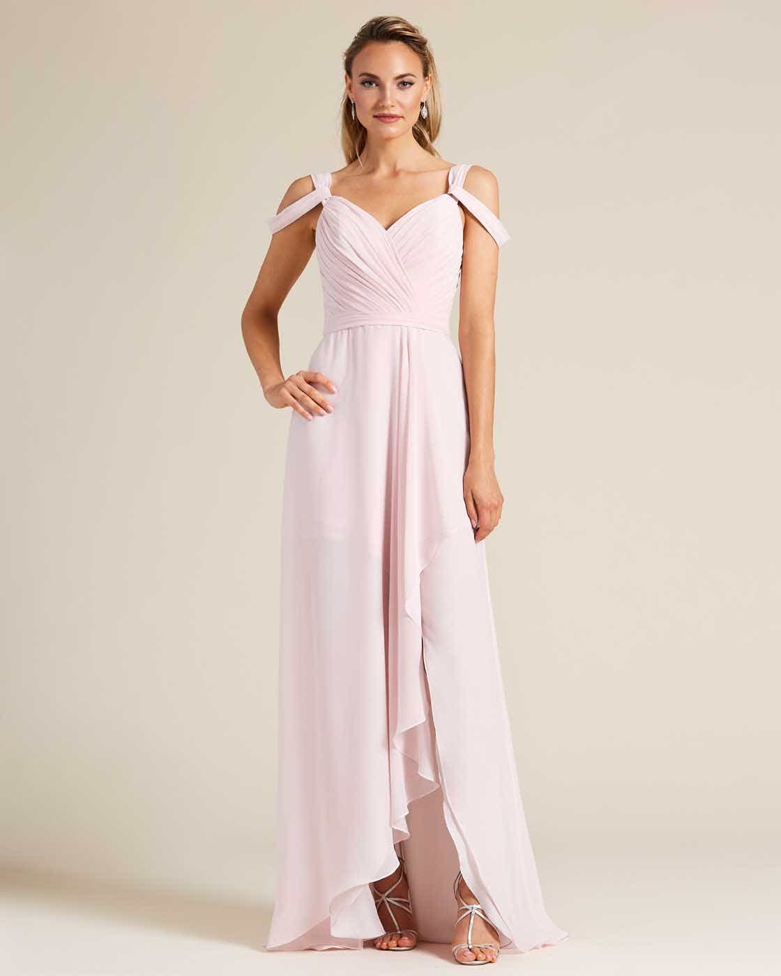 Light Pink Multi Strap Ruched Top Dress - Front