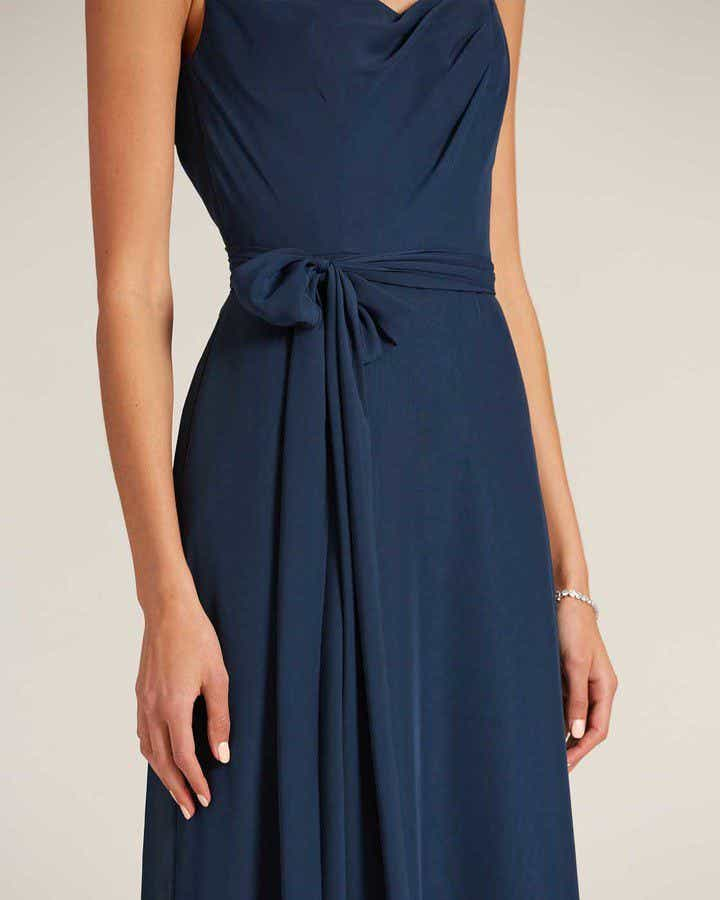 Navy Blue Asymmetrical Neckline Special Occasion Gown - Detail