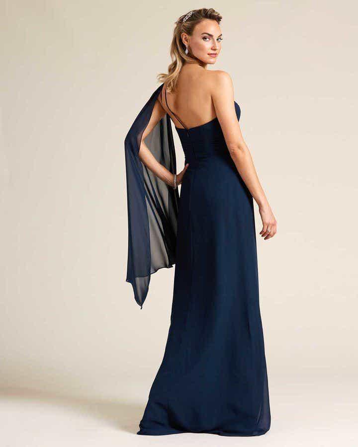 Blue One Shoulder Cape Sleeve Dress - Back