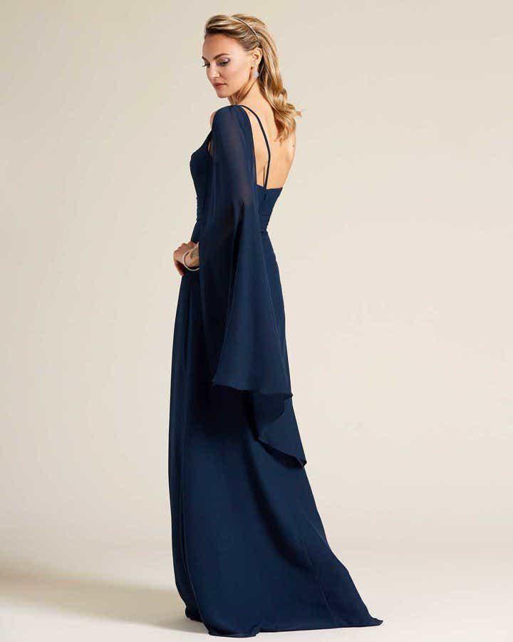 Blue One Shoulder Cape Sleeve Dress - Side