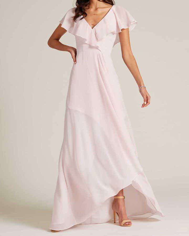Pink Ruffle Top Long Skirt Dress - Detail