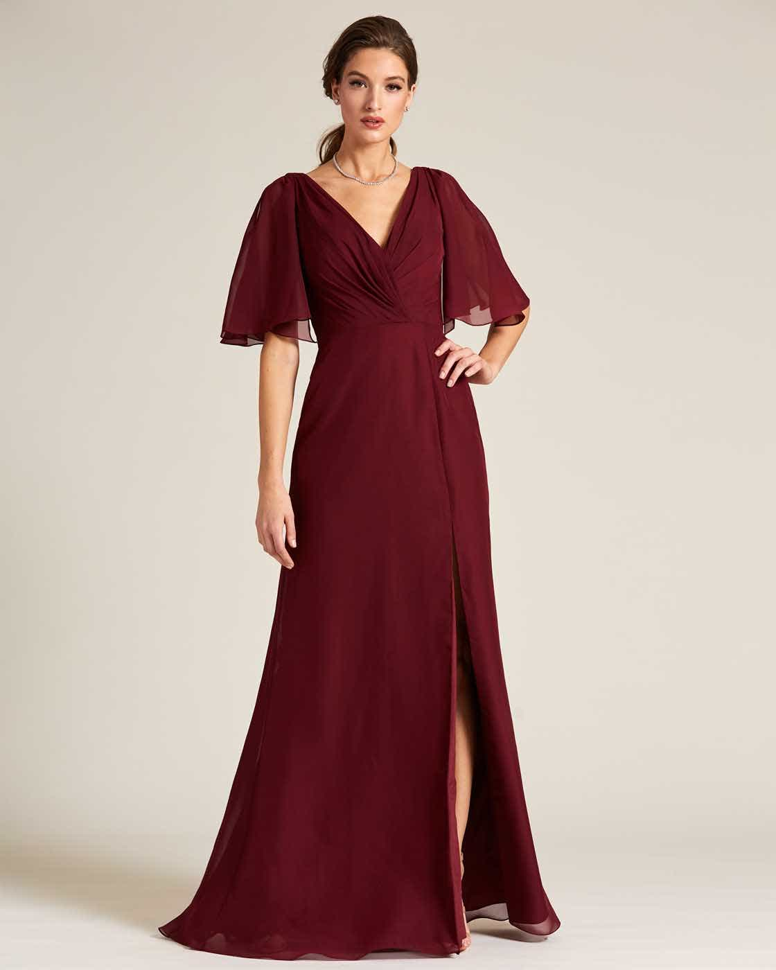 Burgundy Bell Cap Sleeve Gown - Front