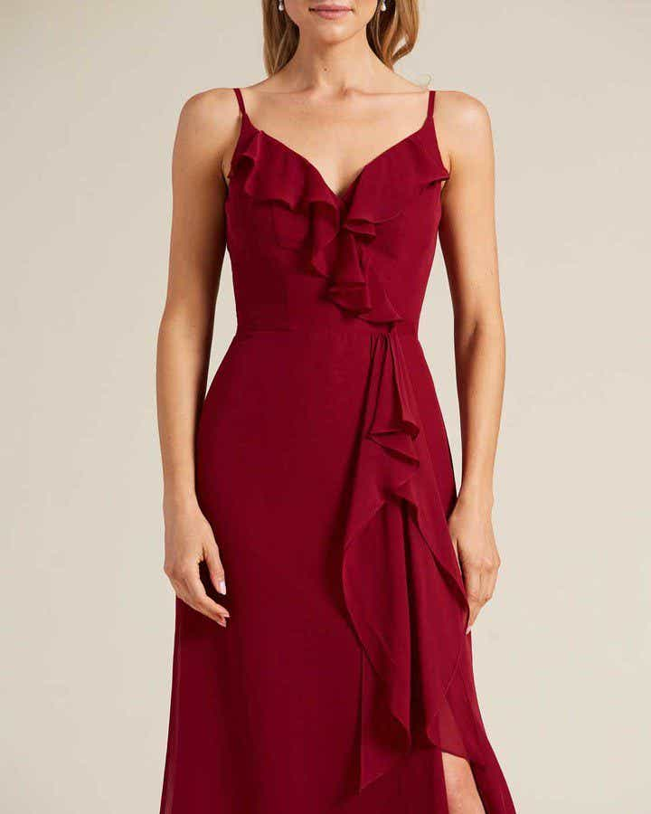 Ruby Red Criss Cross Back Ruffled Gown - Detail