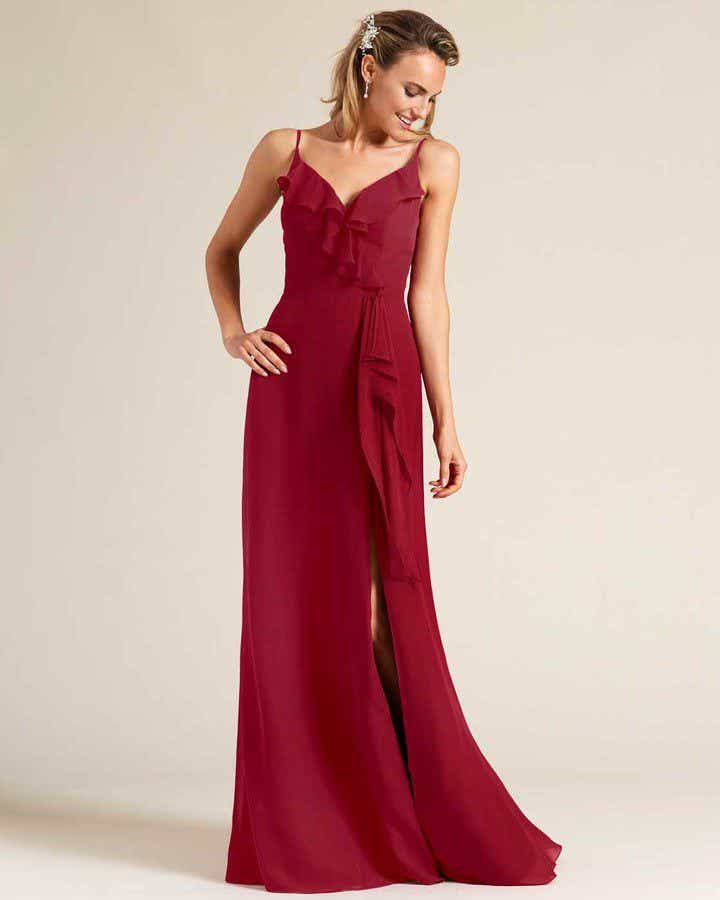 Ruby Red Criss Cross Back Ruffled Gown - Front