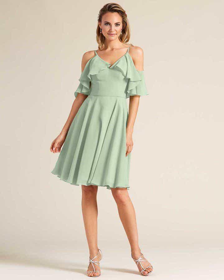 Green Flounce Top Short Dress - Front