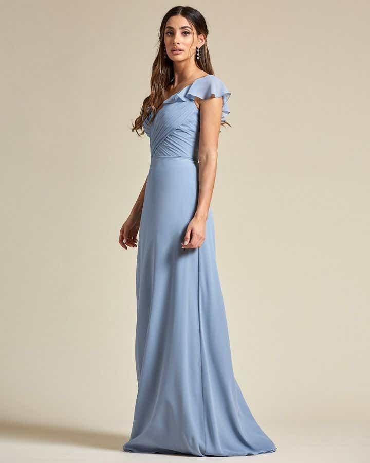 One Strap Cap Sleeve Maxi Dress - Side