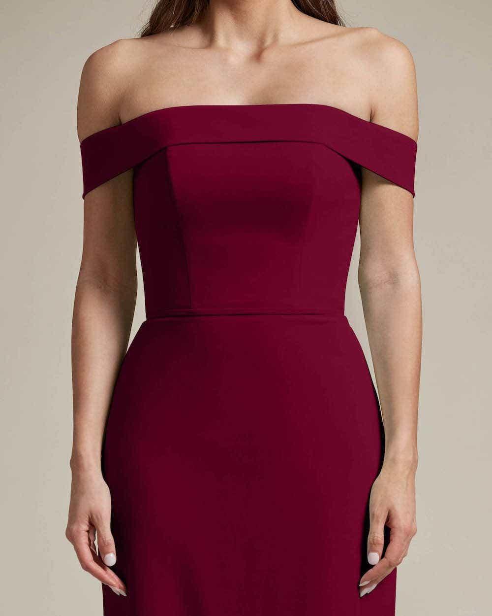 Over The Shoulder Classic Princess Maxi Dress - Detail