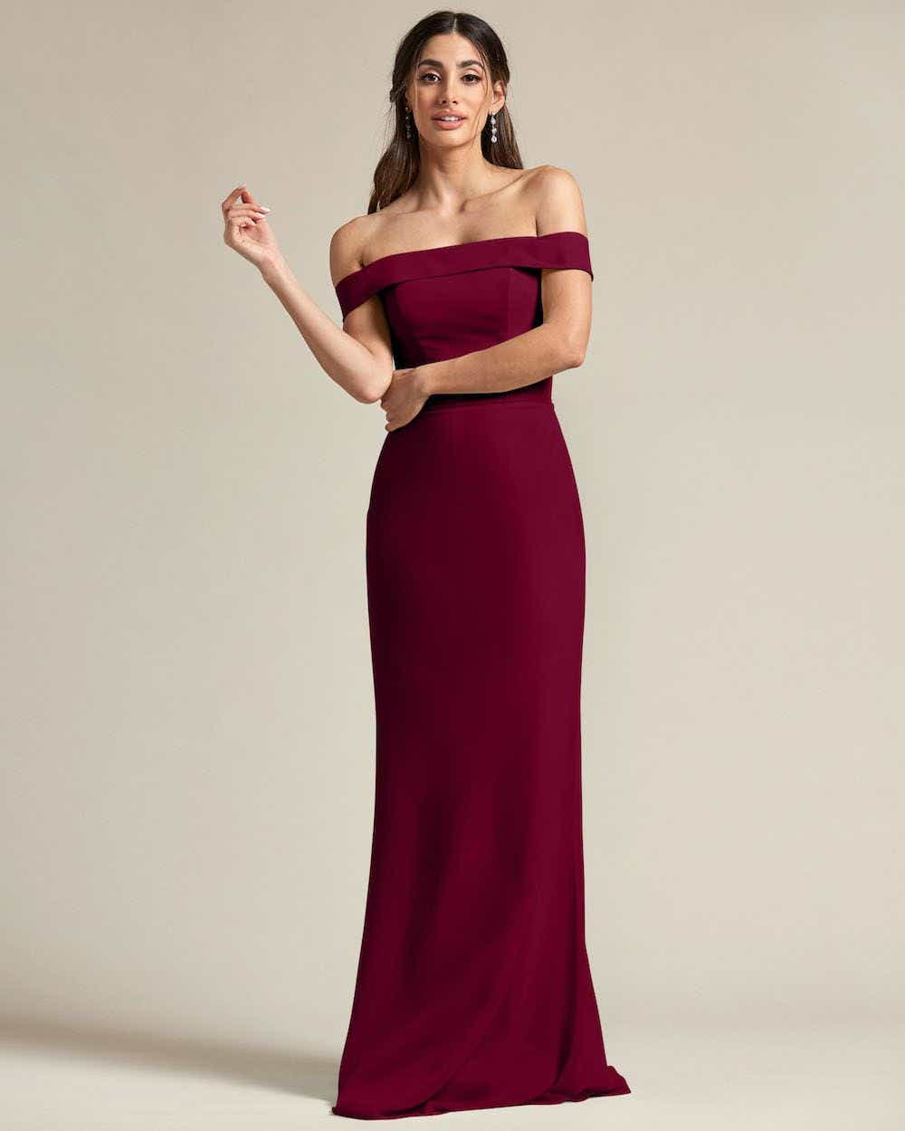 Over The Shoulder Classic Princess Maxi Dress - Front