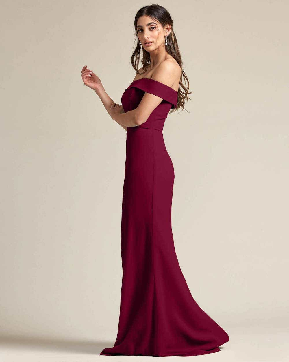 Over The Shoulder Classic Princess Maxi Dress - Side
