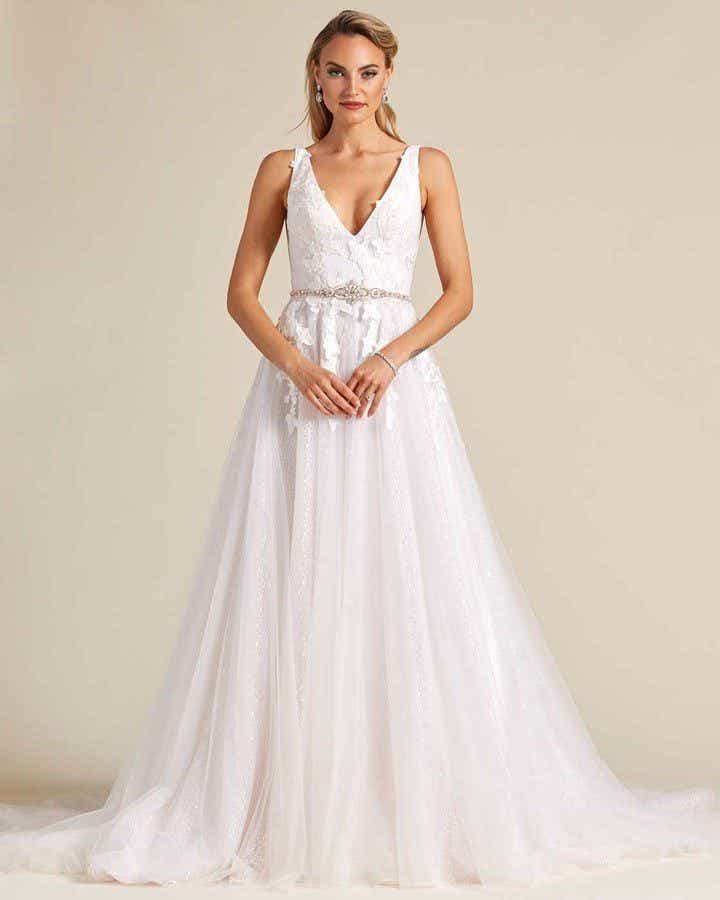 White Butterfly Embroidered Sleeveless Wedding Dress - Front