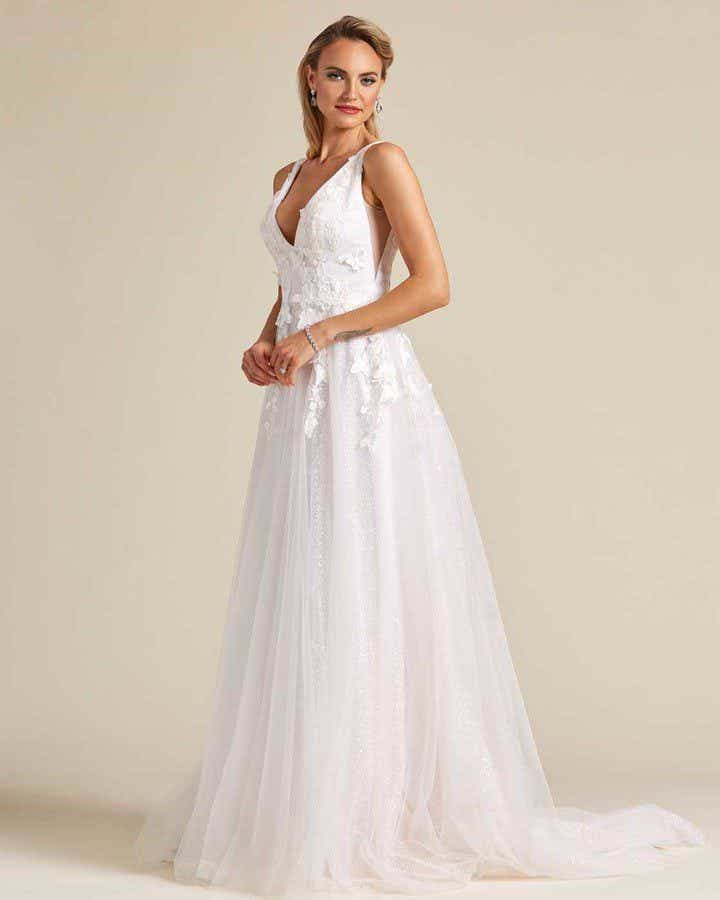 White Butterfly Embroidered Sleeveless Wedding Dress - Side