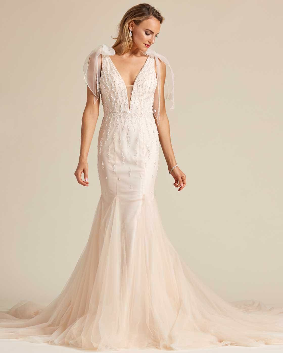 Vintage Style Champagne Sleeveless Wedding Gown - Front