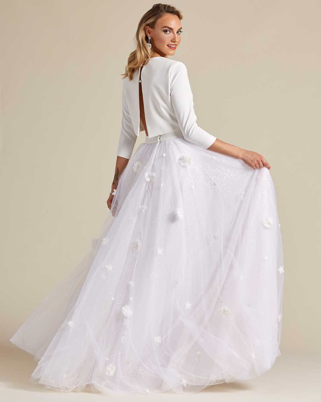 Minimal Style White Two Piece Wedding Dress - Detail Back