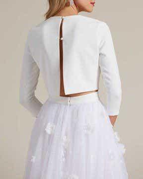 Minimal Style White Two Piece Wedding Dress - Detail