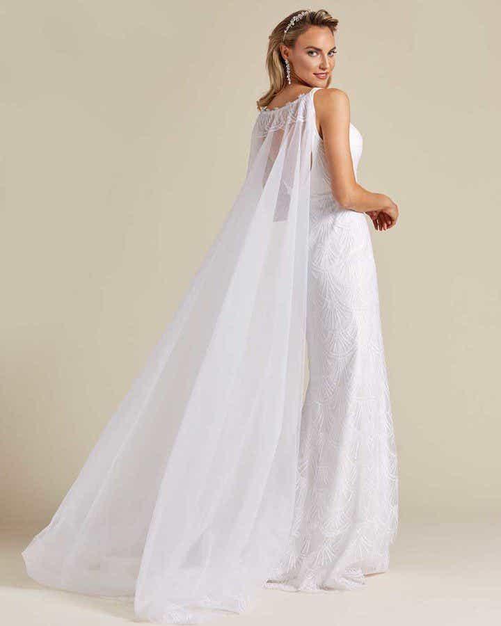 Ivory White Long Veil Wedding Gown - Detail Back