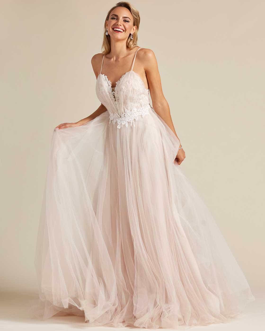 Champagne White Embroidery Long Length Wedding Gown - Detail Front