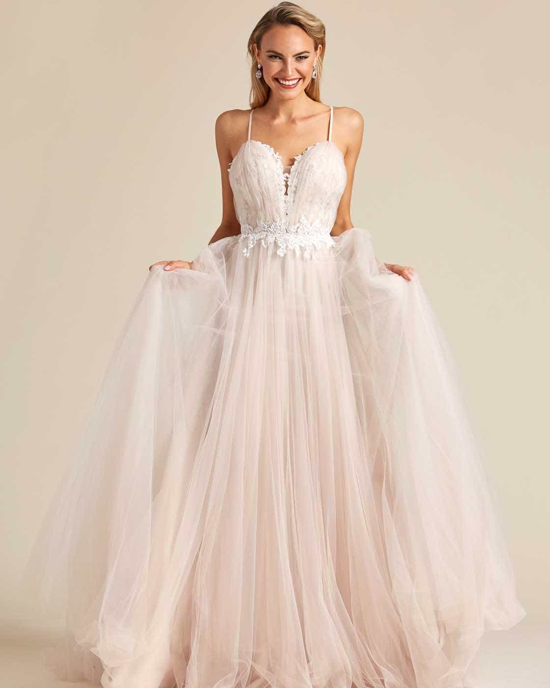 Champagne White Embroidery Long Length Wedding Gown - Front