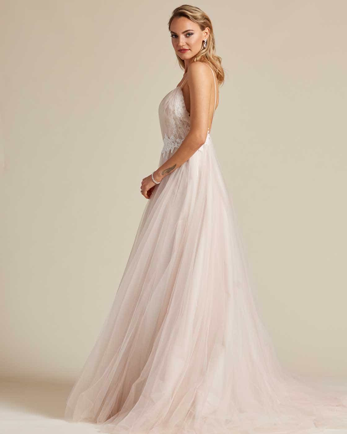 Champagne White Embroidery Long Length Wedding Gown - Side