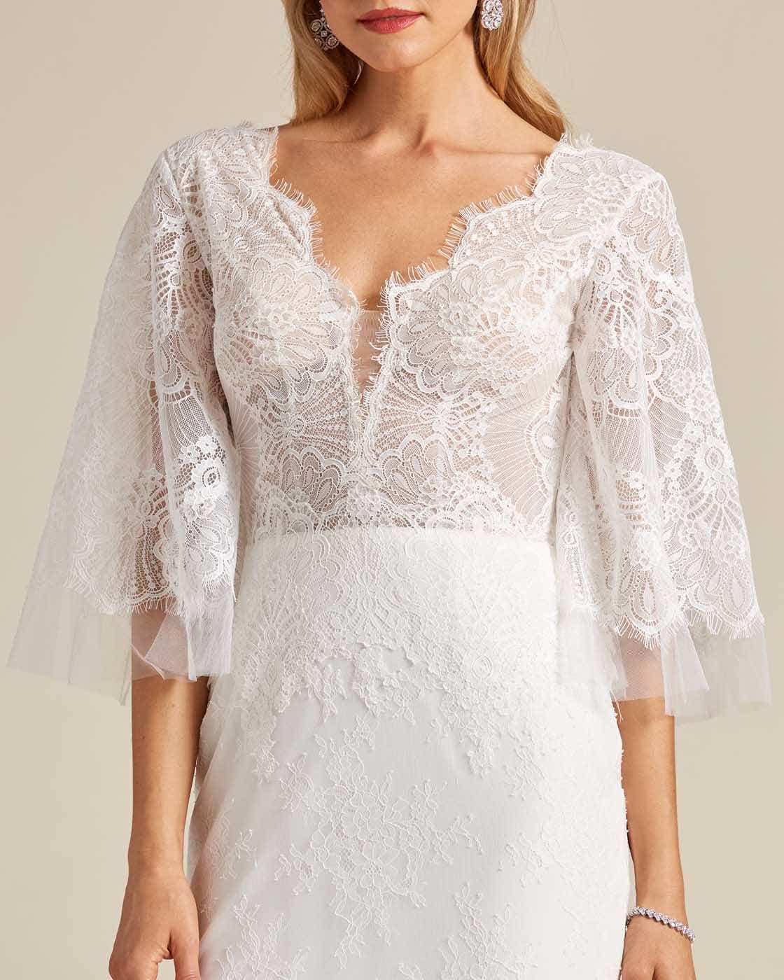 White Bell Sleeves Fishtail Wedding Dress - Detail