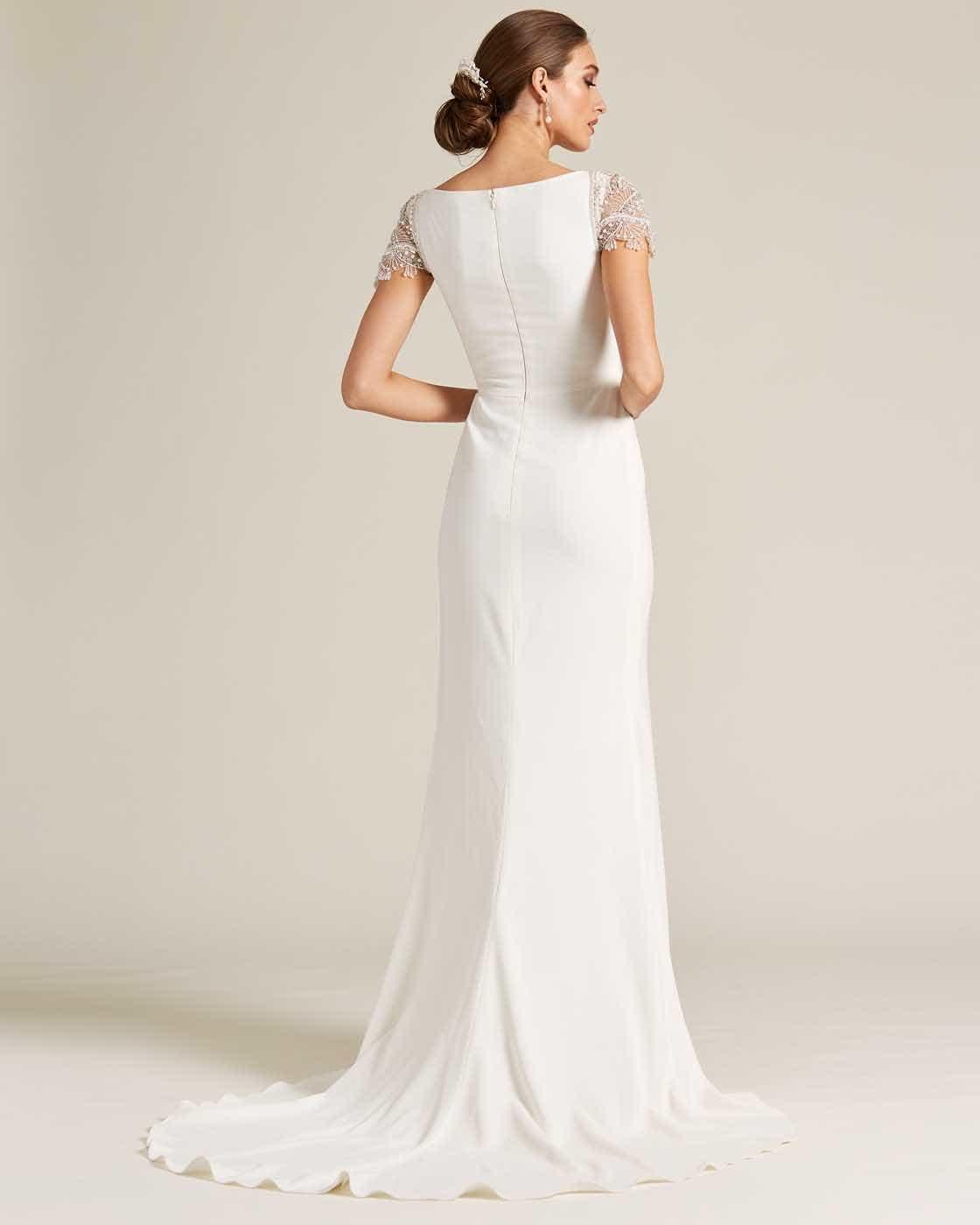 White Embroidered Cap Sleeve Wedding Dress - Back