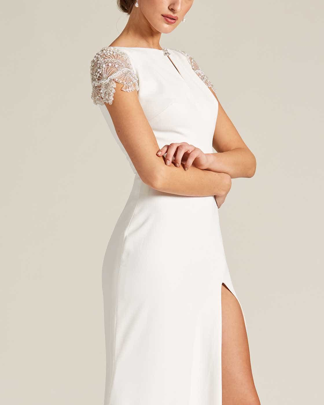 White Embroidered Cap Sleeve Wedding Dress - Detail