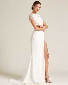 White Embroidered Cap Sleeve Wedding Dress - Side