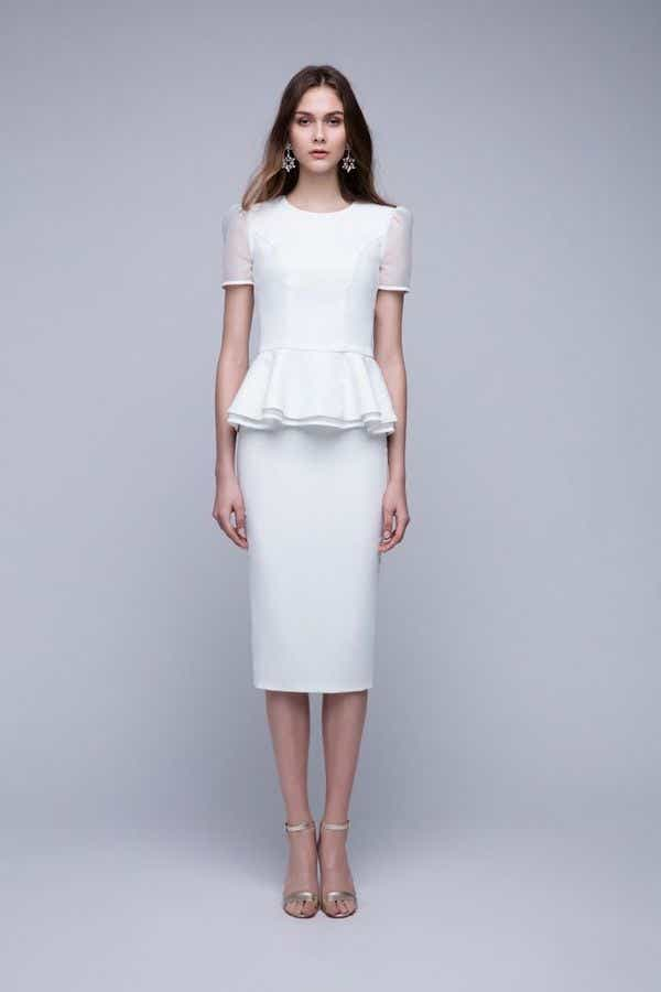 White Two-Piece Wedding Dress - Front