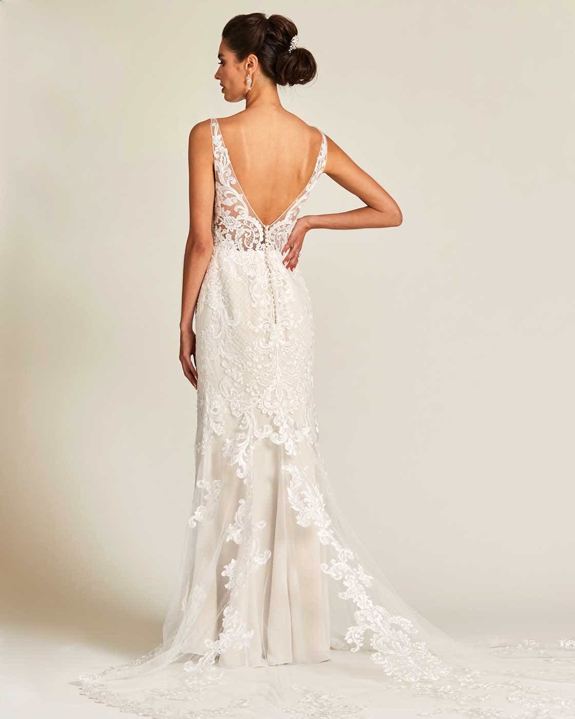 Vintage Style White Applique Wedding Gown - Back