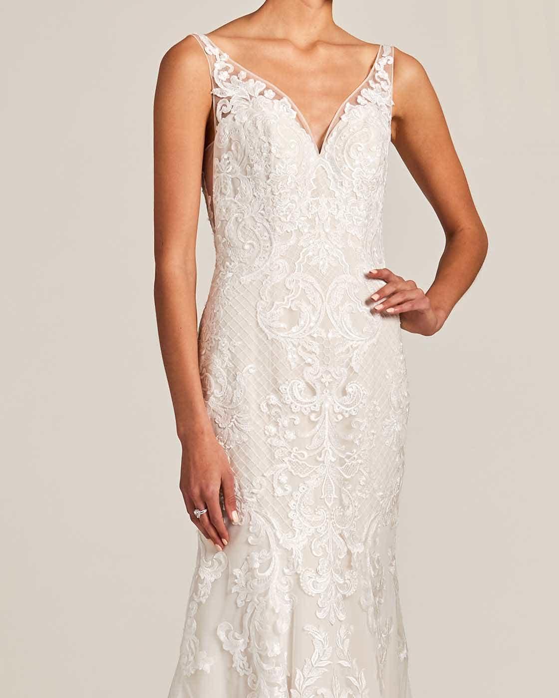 Vintage Style White Applique Wedding Gown - Detail