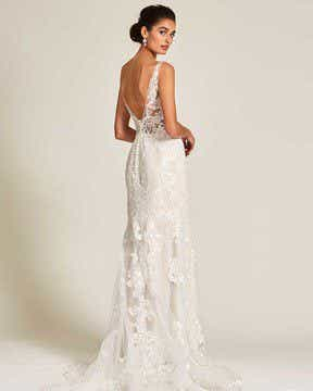 Vintage Style White Applique Wedding Gown - Side