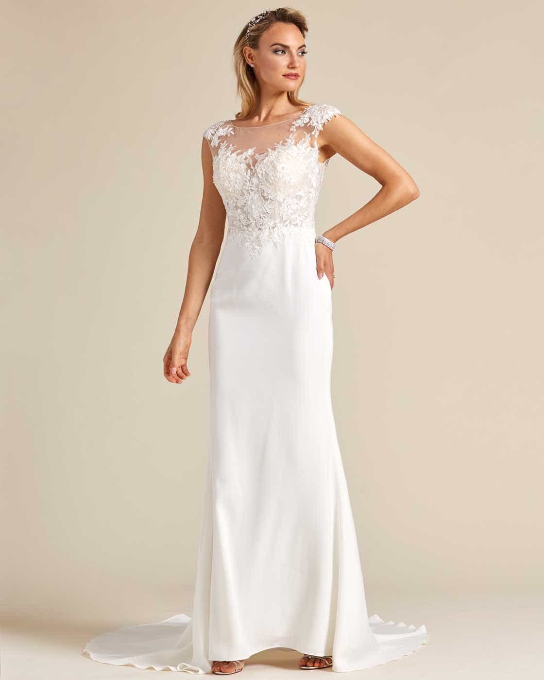 Cream White Button Down Back Wedding Dress - Front