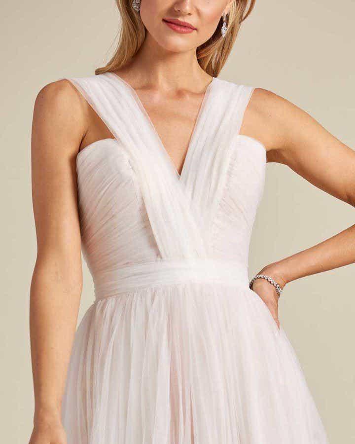 Blush White Chiffon Wedding Gown - Detail