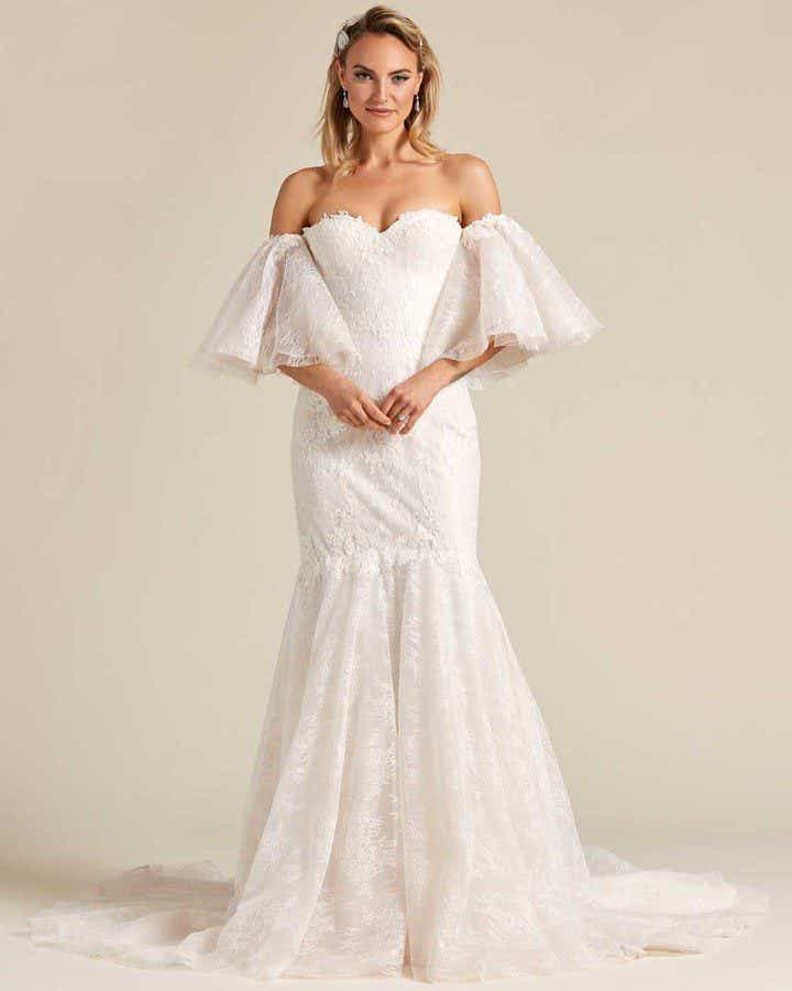 Off White Mermaid Tail Wedding Dress - Front