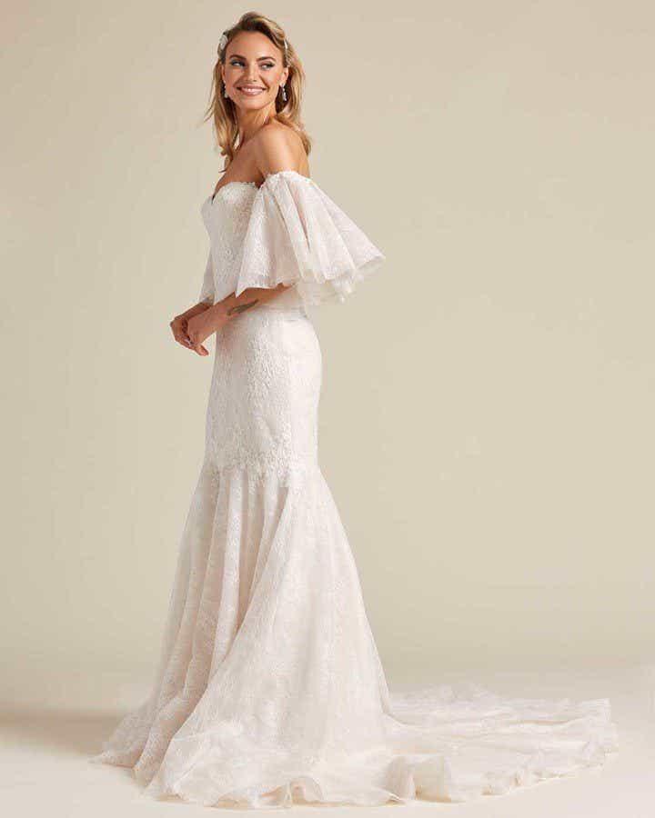 Off White Mermaid Tail Wedding Dress - Side