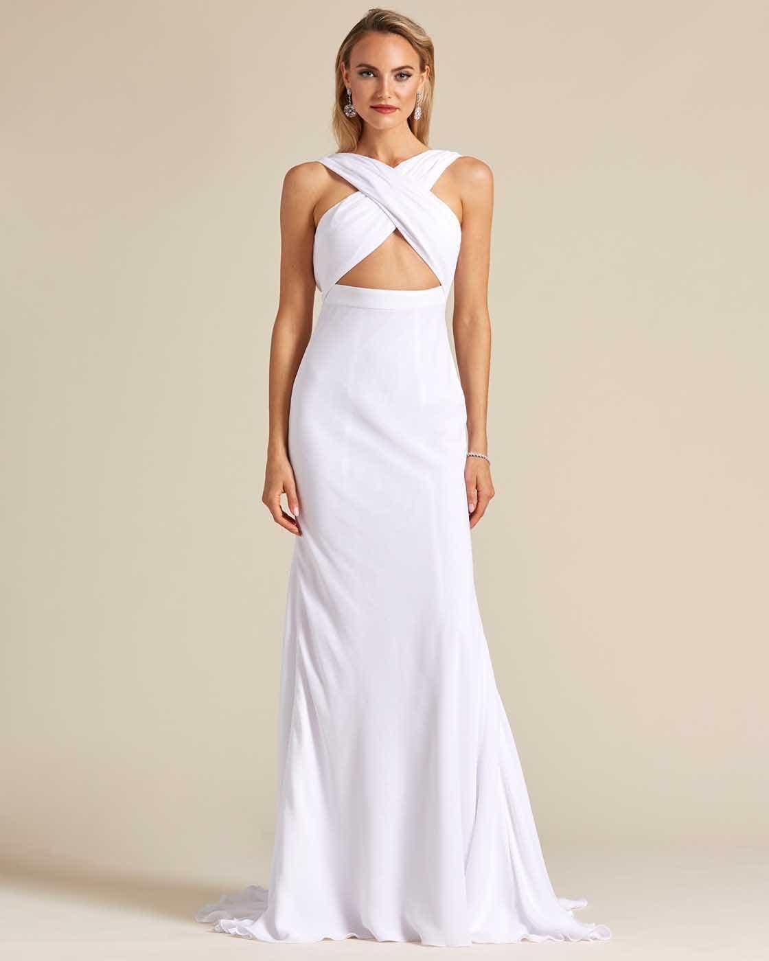 Ivory White Criss Cross Wedding Dress - Front